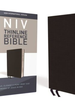 NIV Thinline Reference Bible, Bonded Leather, Black, Red Letter, Thumb Indexed, Comfort Print